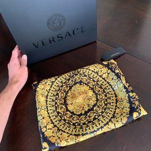 Versace Gold Hibiscus Print Scarf